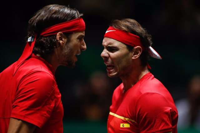 Rafael Nadal and Feliciano Lopez of Spain in action during their third round doubles match Semi-Finals played against Neal Skupski and Jamie Murray of England during the Day 6 of the 2019 Davis Cup at La Caja Magica on November 23, 2019 in Madrid, Spain.