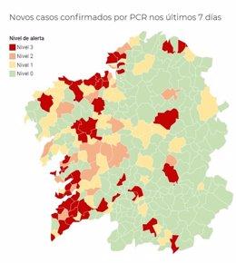 Mapa de la incidencia del coronavirus en los municipios gallegos, a 3 de noviembre de 2020.