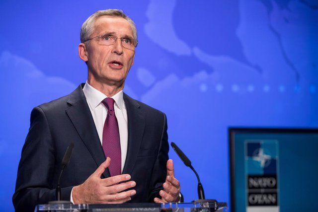HANDOUT - 23 October 2020, Belgium, Brussels: NATO Secretary-General Jens Stoltenberg speaks during an online press conference following the second day of the virtual meeting of the NATO Defence Ministers. Photo: -/NATO/dpa - ATTENTION: editorial use only