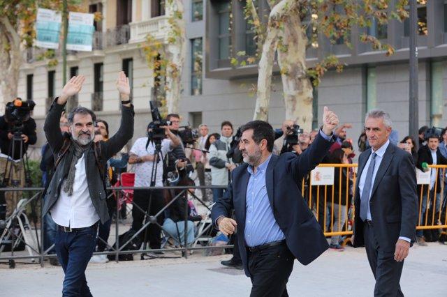 Jordi Sànchez i Jordi Cuixart a l'Audiència Nacional