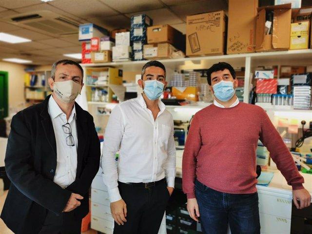 Los doctores Albert Font, Álvaro Aytés y Vicenç Ruiz de Porras, coautores del estudio que ha descubierto un mecanismo que puede mejorar la supervivencia de cáncer de próstata avanzado