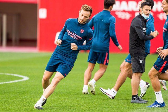 Ivan Rakitic during Sevilla Futbol Club training prior to the UEFA Champions League match against Krasnodar at Jose Ramon Cisneros Palacios Sport City on November 3, 2020 in Sevilla, Spain.