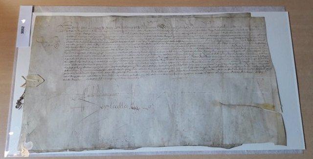 Pla de detall d'un dels catorze pergamins restaurats pel Conselh Generau d'Aran. Imatge del 3 de novembre del 2020. (horitzontal)