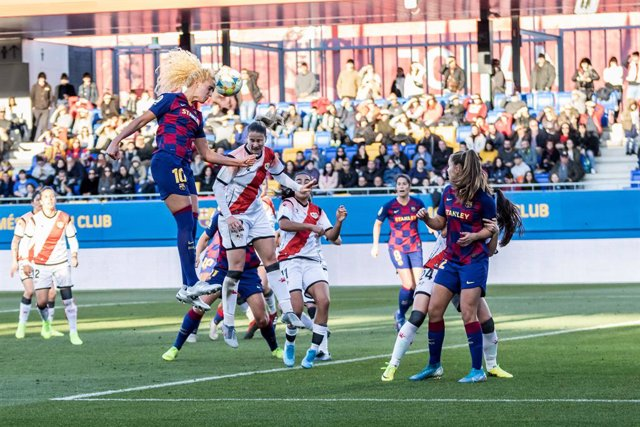 Kheira Hamraoui  of Fc Barcelon, during the Liga Iberdrola  match between  FC Barcelona Femeni and Rayo Vallecano Femenino at Johan Cruyff Stadium on January 18, 2020 in Barcelona, Spain.