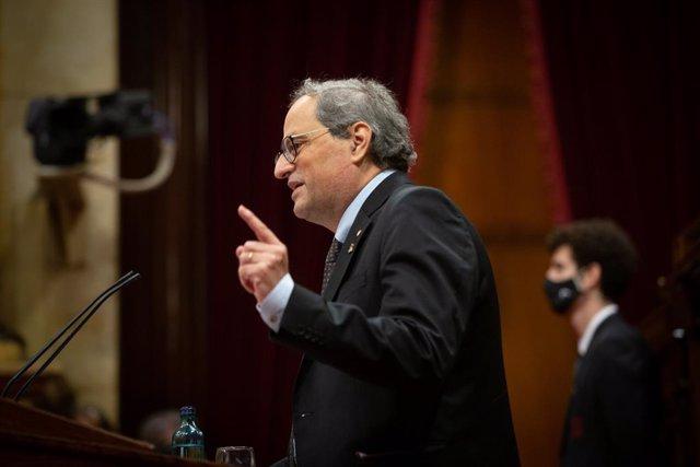 L'expresident de la Generalitat Quim Torra intervé durant una sessió plenària monogràfica al Parlament sobre la seva inhabilitació. Barcelona, Catalunya (Espanya), 30 de setembre del 2020.