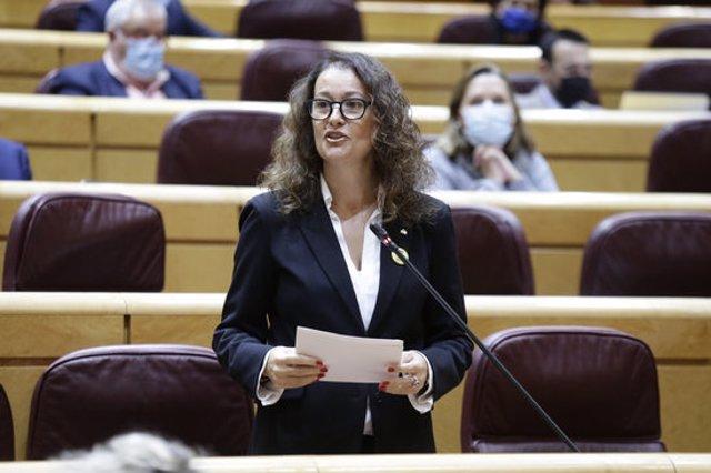 La senadora tarragonina per ERC Laura Castel intervé a la cambra alta espanyola el 3 de novembre del 2020. Pla mig. (Horitzontal)