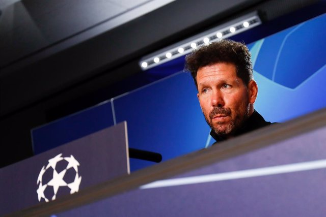 Diego Pablo Simeone, head coach of Atletico de Madrid, attends during the Press Conference of Atletico de Madrid before the UEFA Champions League football match against Lokomotiv Moscow at Wanda Metropolitano Stadium on December 10, 2019, in Madrid, Spain