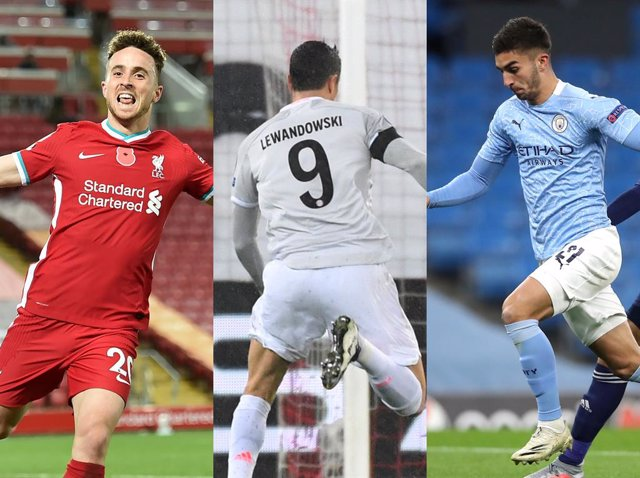 Diogo Jota, Lewandowski y Ferran Torres, goleadores este martes