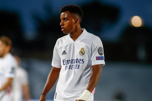 Rodrygo Silva de Goes of Real Madrid looks on during the UEFA Champions League football match played between Real Madrid and Shakhtar Donetsk at Alfredo Di Stefano stadium on October 21, 2020 in Madrid, Spain.
