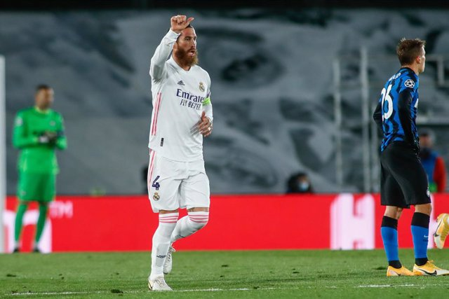 Sergio Ramos of Real Madrid celebrates a goal during the UEFA Champions League, Group B, football match played between Real Madrid and FC Internazionale Milano at Alfredo Di Stefano stadium on November 03, 2020, in Valdebebas, Madrid, Spain.