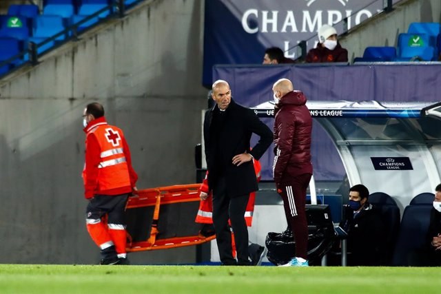 Zinedine Zidane, head coach of Real Madrid, gestures during the UEFA Champions League, Group B, football match played between Real Madrid and FC Internazionale Milano at Alfredo Di Stefano stadium on November 03, 2020, in Valdebebas, Madrid, Spain.