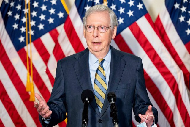 22 September 2020, US, Washington: US Senate Majority Leader Mitch McConnell speaks to during a press conference at Capitol Hill about the Senate Republican Caucus leadership. Photo: Michael Brochstein/ZUMA Wire/dpa