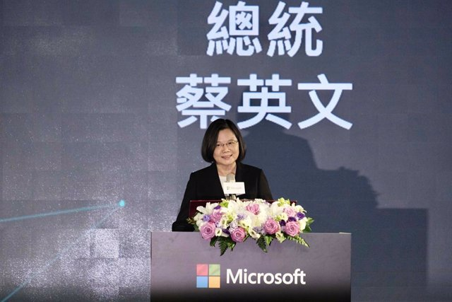 26 October 2020, Taiwan, Taipei: Taiwanese President Tsai Ing-Wen delivers a speech during a Microsoft event. Photo: Walid Berrazeg/SOPA Images via ZUMA Wire/dpa