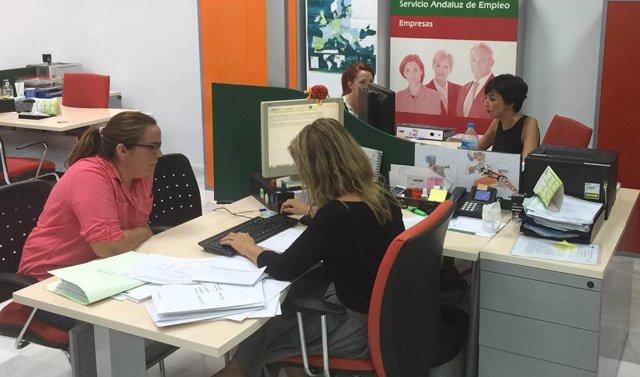 Oficina del Servicio Andaluz de Empleo (SAE), en una foto de archivo.