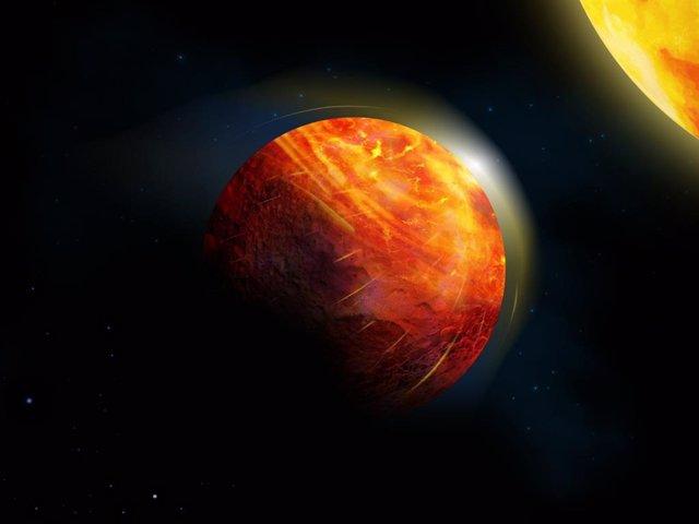 Impresión artística del planeta de lava K2-141b. En el centro de la gran región iluminada hay un océano de roca fundida cubierto por una atmósfera de vapor de roca.