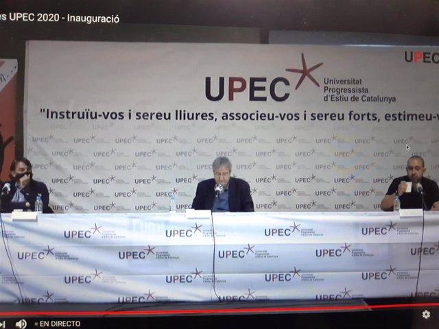 Camil Ros (UGT), Jordi Serrano (UPEC) y Javier Pacheco (CC.OO.)
