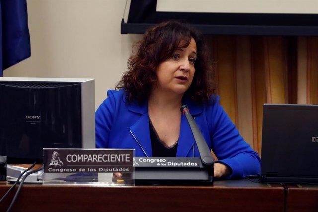 La eurodiputada Iratxe García Pérez durante su comparecencia en la reunión del Grupo de Trabajo Unión Europea de la Comisión para la Reconstrucción Social y Económica celebrada en el Congreso de los Diputados en Madrid este lunes, en Madrid (España), a 1