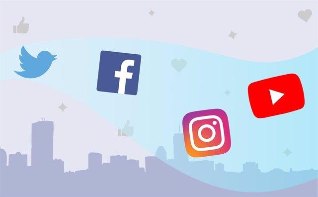 Logos de Twitter, Facebook, Instagram y YouTube