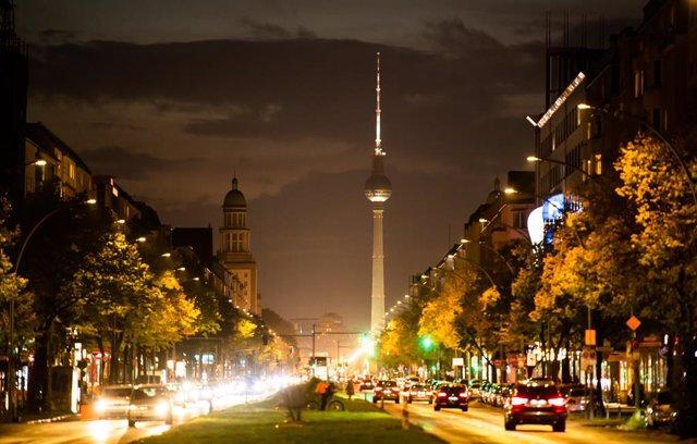 Imagen nocturna del centro de Berlín