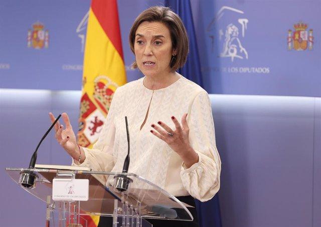La portavoz del PP en el Congreso, Cuca Gamarra, interviene durante la rueda de prensa posterior a la Junta de Portavoces celebrada en el Congreso de los Diputados, en Madrid, (España), a 20 de octubre de 2020.