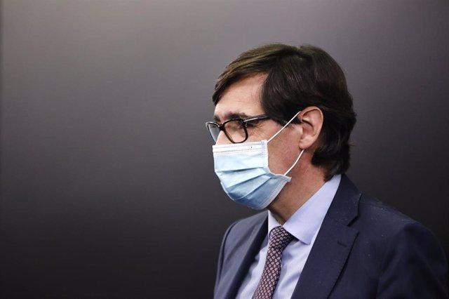 El ministro de Sanidad, Salvador Illa, comparece en rueda de prensa para detallar el proyecto de PGE 2021 correspondientes a Sanidad, en Moncloa, Madrid (España), a 30 de octubre de 2020.