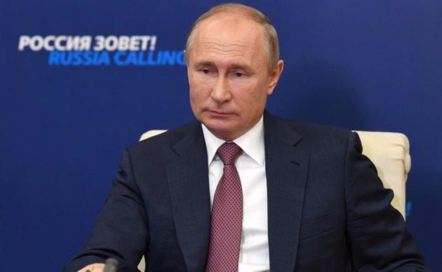 Vladimir Putin en una comparecencia
