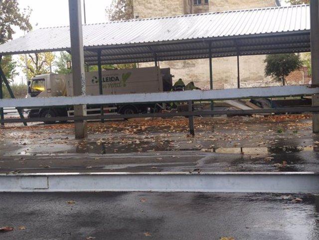 Pla obert on es pot veure el moment que s'ha desallotjat diverses persones sense sostre dels Camps Elisis de Lleida, el 4 de novembre de 2020. (Horitzontal)