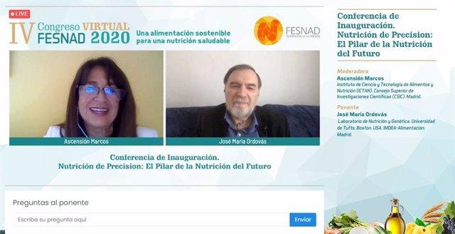 El director del Laboratorio de Nutrición y Genética de la Universidad de Tufts, en Boston, José María Ordovás, inaugura el IV Congreso Nacional de Nutrición, que se celebra online.
