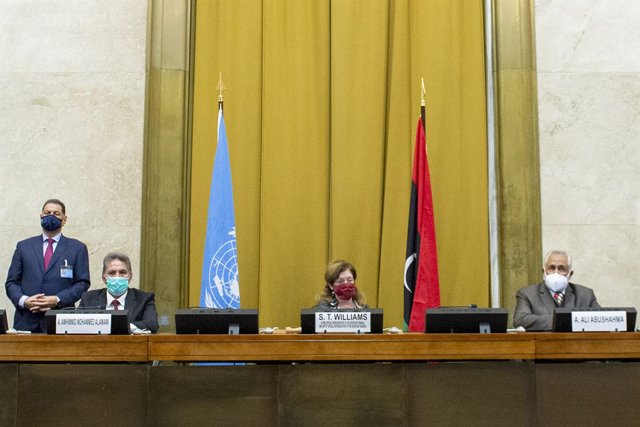 Rueda de prensa en Ginebra tras el acuerdo de alto el fuego permanente en Libia