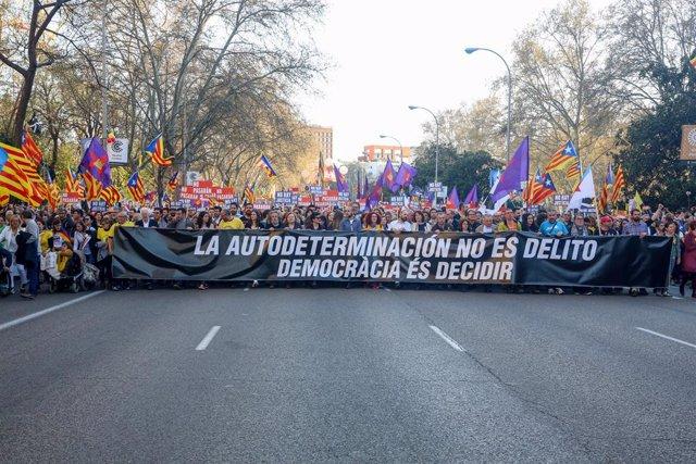 Manifestació independentista a Madrid contra el judici del procés.