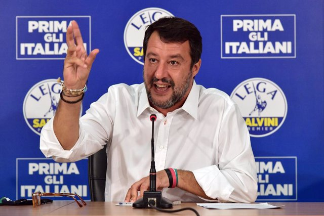 21 September 2020, Italy, Milan: Matteo Salvini, Federal Secretary of the Lega Nord right-wing party, speaks during a press conference after the announcement of the results of the 2020 Italian regional elections. Salvini failed to conquer Tuscany, the big