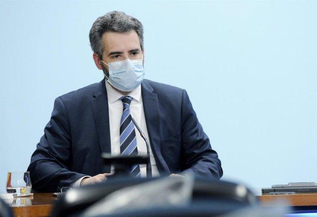 El Ministre De Finances I Portaveu, Eric Jover, A la Sala De Premsa Del Govern