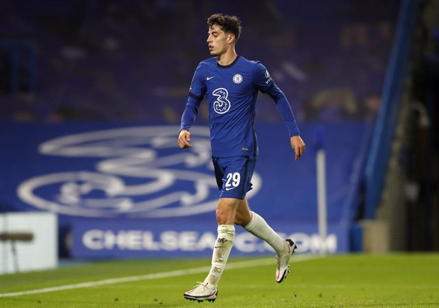 23 September 2020, England, London: Chelsea's Kai Havertz celebrates scoring his side's fifth goal during the English Carabao Cup third round soccer match between Chelsea and Barnsley at Stamford Bridge stadium. Photo: Alastair Grant/PA Wire/dpa