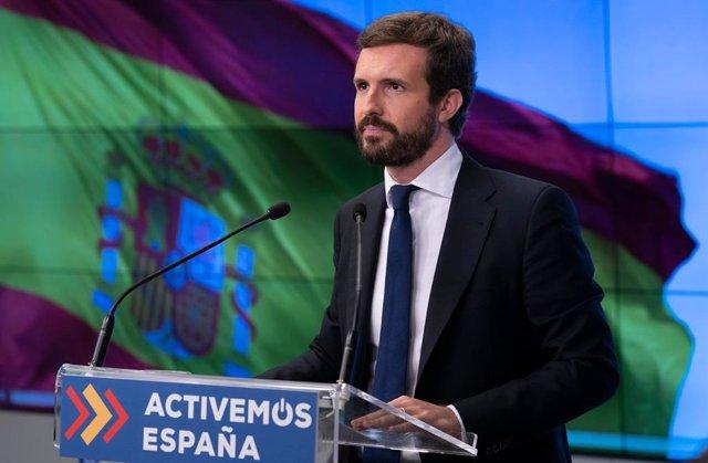 El líder del PP, Pablo Casado, preside la reunión del Comité Ejecutivo del PP que se ha celebrado vía telemática. En Madrid, 3 de noviembre de 2020.