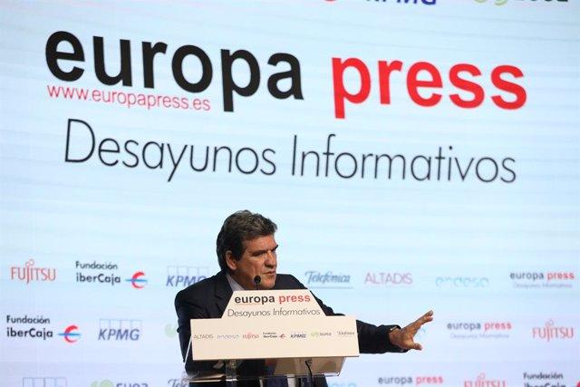 El ministre d'Inclusió, Seguretat Social i Migracions, José Luis Escrivá, en l'Esmorzar Informatiu d'Europa Press