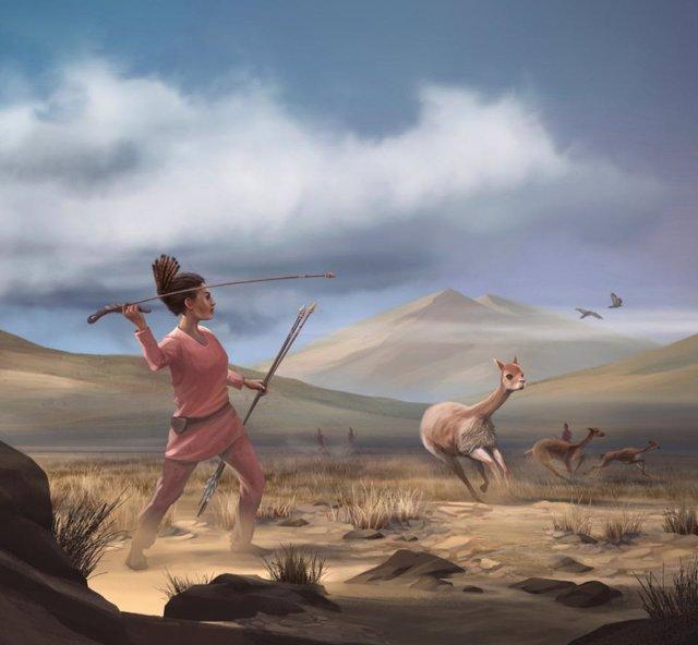 Ilustración de una cazadora que representa a los cazadores que pudieron haber aparecido en los Andes hace 9.000 años.