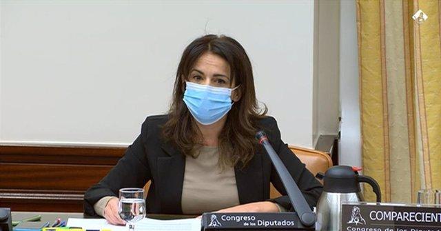 La secretaria de Estado de Sanidad, Silvia Calzón, durante su comparecencia en la Comisión de Sanidad y Consumo del Congreso de los Diputados para informar sobre temas relativos al Proyecto de Ley de Presupuestos Generales del Estado para el año 2021