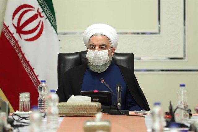 FILED - 05 November 2020, Iran, Tehran: Iranian President Hassan Rouhani, wearing a face mask, chairs a meeting of the National Committee of Combating Coronavirus (COVID-19). Photo: -/Iranian Presidency/dpa - ATTENTION: editorial use only and only if the