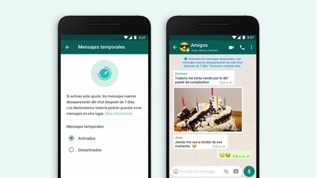 Función de mensajes de desaparecen en WhatsApp.