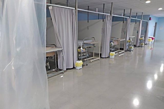 La zona de preingrés que s'ha habilitat a l'hospital de Figueres, en una imatge cedida aquest 5 de novembre del 2020. (horitzontal)