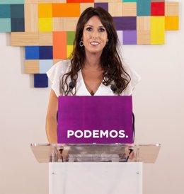La coordinadora de Podemos Andalucía, Martina Velarde, en rueda de prensa. (Foto de archivo).