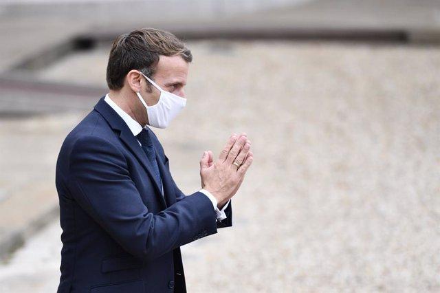 28 October 2020, France, Paris: French President Emmanuel Macron receives Estonian Prime Minister Juri Ratas (Not Pictured) at the Elysee Palace. Photo: Julien Mattia/Le Pictorium Agency via ZUMA/dpa