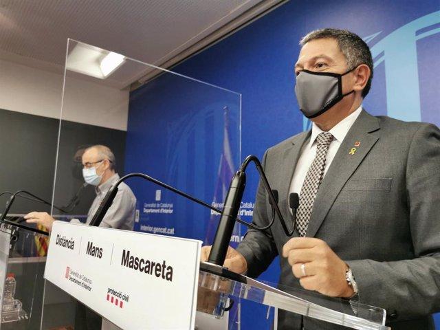 El conseller d'Interior, Miquel Sàmper, en roda de premsa. Barcelona, 5 de novembre del 2020.