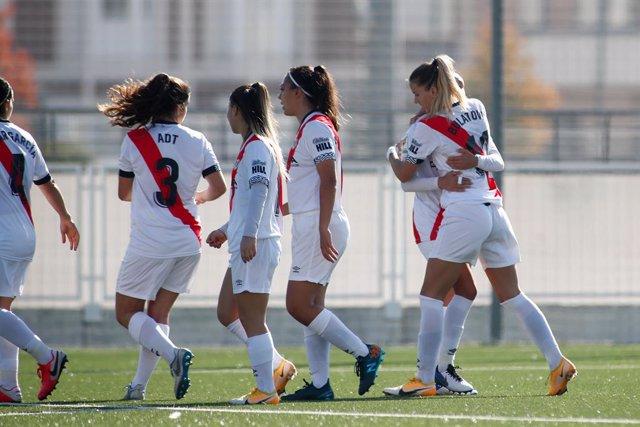 Sladjana Bulatovic of Rayo Vallecano celebrates a goal during the spanish women league, Primera Iberdrola, football match played between Rayo Vallecano and UDG Granadilla Tenerife at Ciudad Deportiva Rayo Vallecano on October 31, 2020, in Madrid, Spain.
