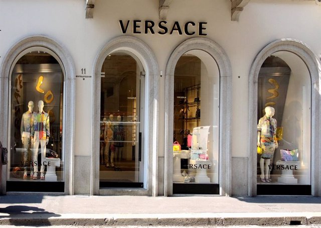 April 19, 2019 - Milan, Italy: Versace store front. Mid season and summer fashion trend on the shop windows of the Milan fashion district. The Golden quadrilateral, including via Montenapoleone and Via Spiga, is ranked as the sixth most expensive shopping