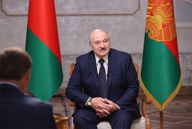 El presidente de Bielorrusia, Alexander Lukashenko, en el palacio presidencial, durante la entrevista con periodistas rusos