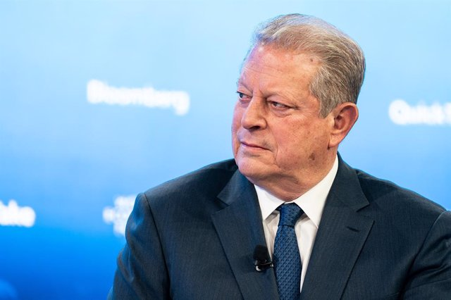 HANDOUT - 24 January 2020, Switzerland, Davos: US former Secretary of State Al Gore speaks during the 50th World Economic Forum annual meeting. Photo: Sikarin Fon Thanachaiary/World Economic Forum/dpa - ATTENTION: editorial use only and only if the credit