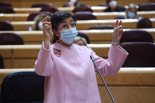 La ministra d'Afers Exteriors, Unió Europea i Cooperació, Arancha González Laya, en una sessió de control al Senat. Madrid (Espanya), 3 de novembre del 2020.