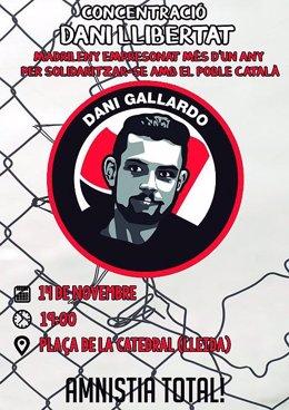 Cartell en suport a Daniel Gallardo detingut l'octubre del 2018 després de les manifestacions a Madrid en suport als presos del procés independentista català.