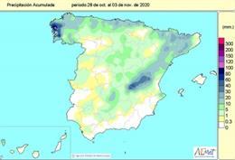 Precipitaciones acumuladas en España desde que comenzó el año hidrológico el pasado 1 de octubre de 2020 hasta el 3 de noviembre de 2020